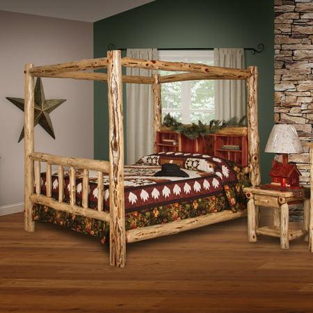 Furniture Barn USA™ Rustic Red Cedar Log Canopy Book Shelf Bed