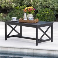 Cristian Outdoor Finished Acacia Wood Coffee Table, Black