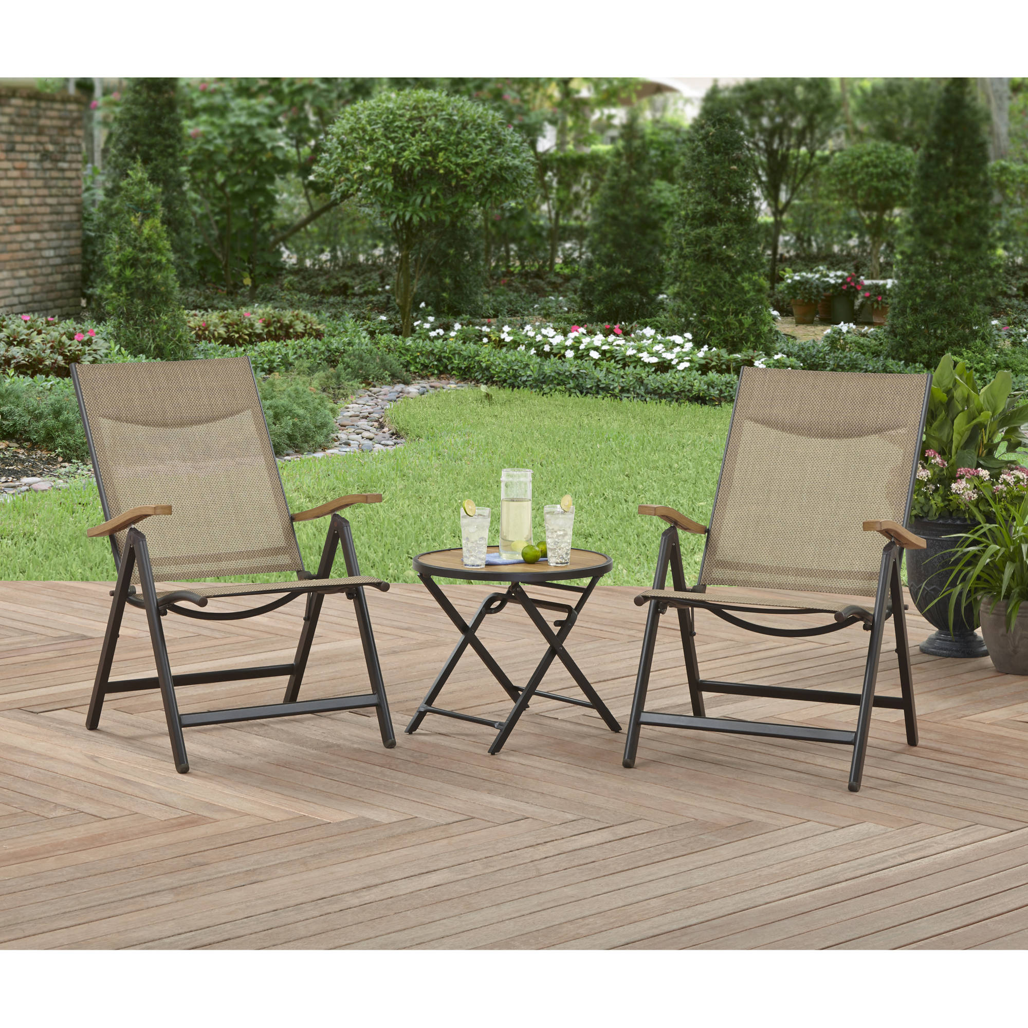 Small Patio Table And Chairs Part - 26: Better Homes And Gardens Quail Ridge 3-Piece Folding Bistro Set -  Walmart.com