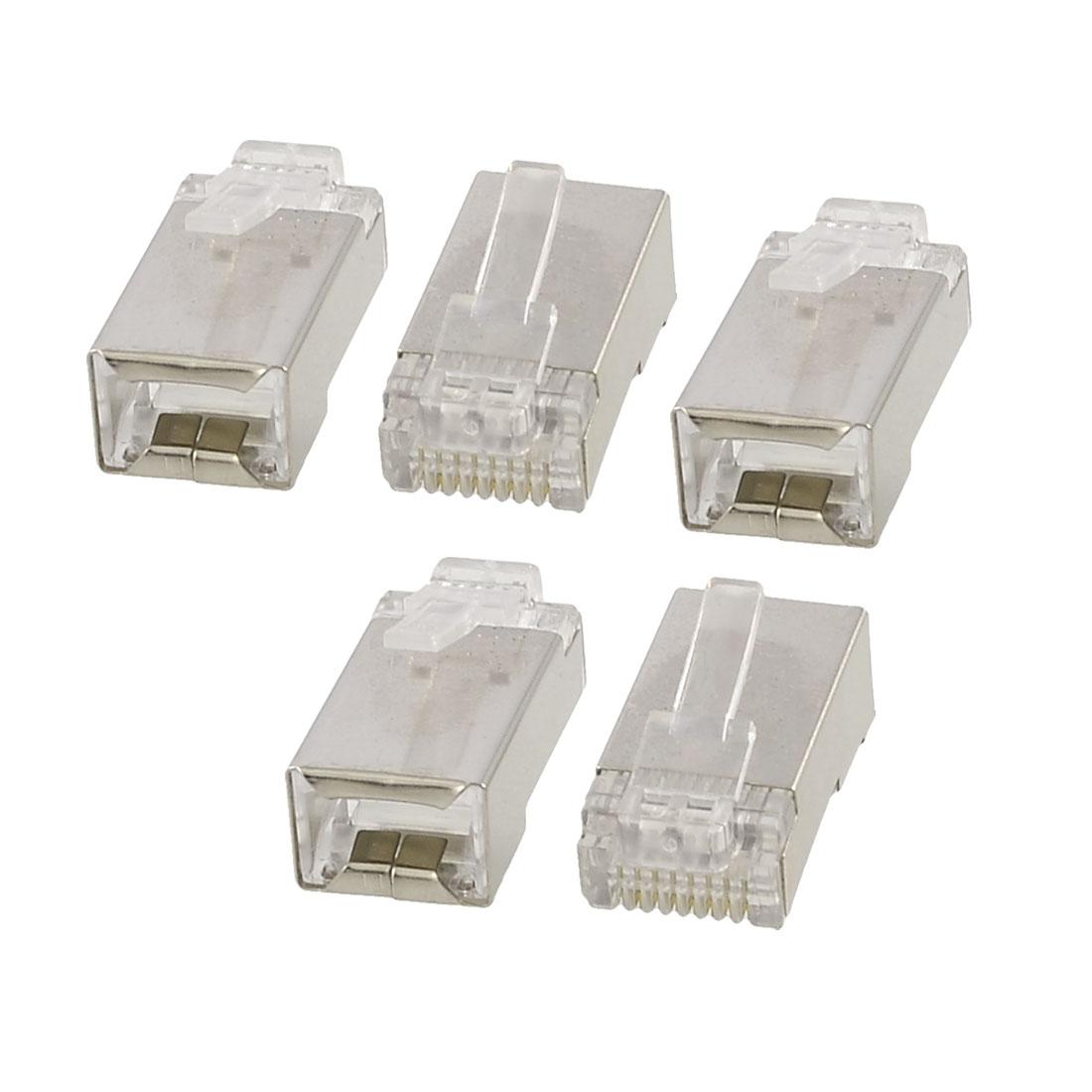 Unique Bargains 5 Pcs 8P8C RJ45 Shielded Ethernet Network Cable Line Head Plugs Jacks