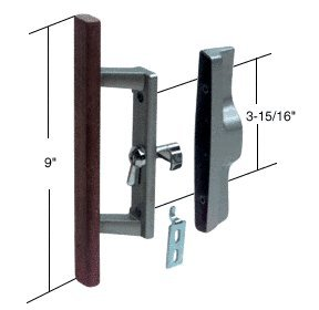 """Sliding Glass Patio Door Handle Set with Internal Lock for Viking Doors, 3-15/16"""" Screw Holes, Non-Keyed, Wood/Aluminum, A Very Popular Handle By C.R. Laurence"""
