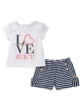 Little Girl's 2-Piece Printed Top & Cotton Blend Shorts Set