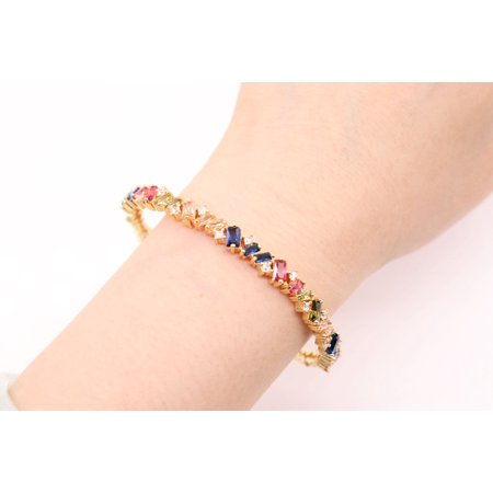 Chic Jewels  Gold Plated Brass Cuff Bangle Bracelet with Multi-Color Cubic Zirconia Simulated Gem Stones Agate Gemstone Bracelet Bangle