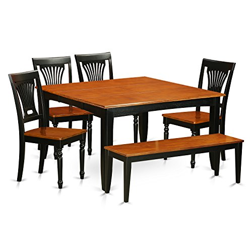 PFPL6-BCH-W 6 PC Dining room set with bench-Dining table with  4 Solid  Wood Dining chairs and One bench