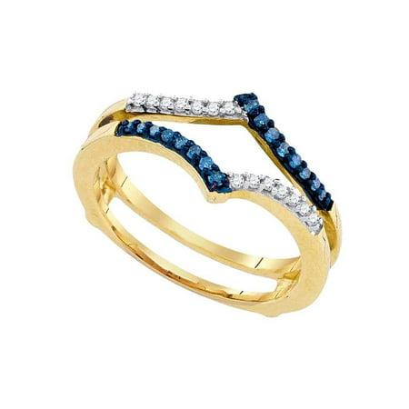 10kt Yellow Gold Womens Round Blue Color Enhanced Diamond Ring Guard Wrap Enhancer Band 1/5