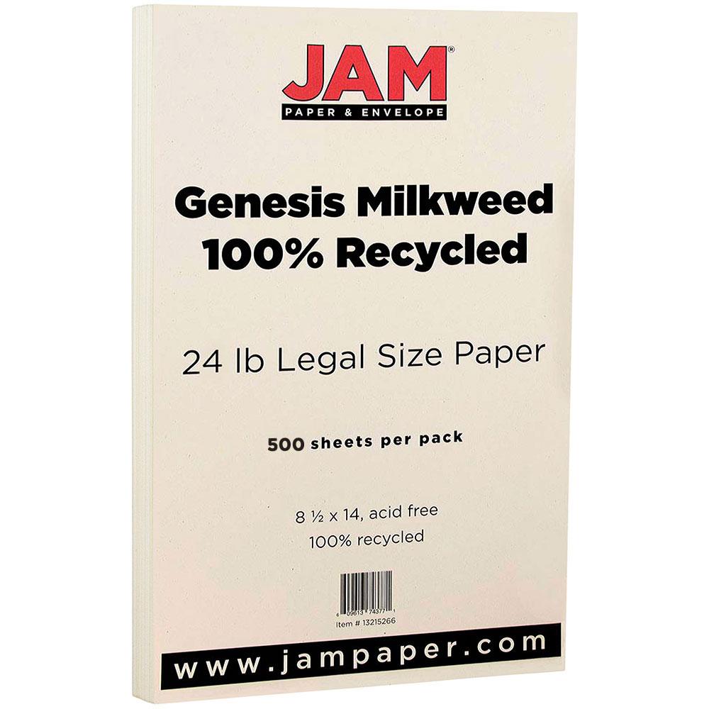 JAM Paper Recycled Legal Paper, 8.5 x 14, 24 lb Genesis Milkweed, 500 Sheets/Ream