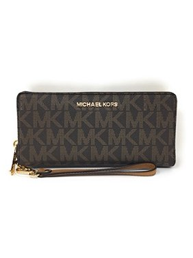 50cd3b66b4de Product Image Michael Kors Jet Set Travel Monogram Zip Around Travel Wallet  Wristlet (Brown   Acorn)