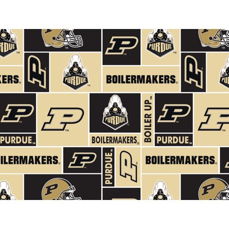 Purdue University Fabric Super Soft Fleece Classic Geometric Design-Sold by the Yard