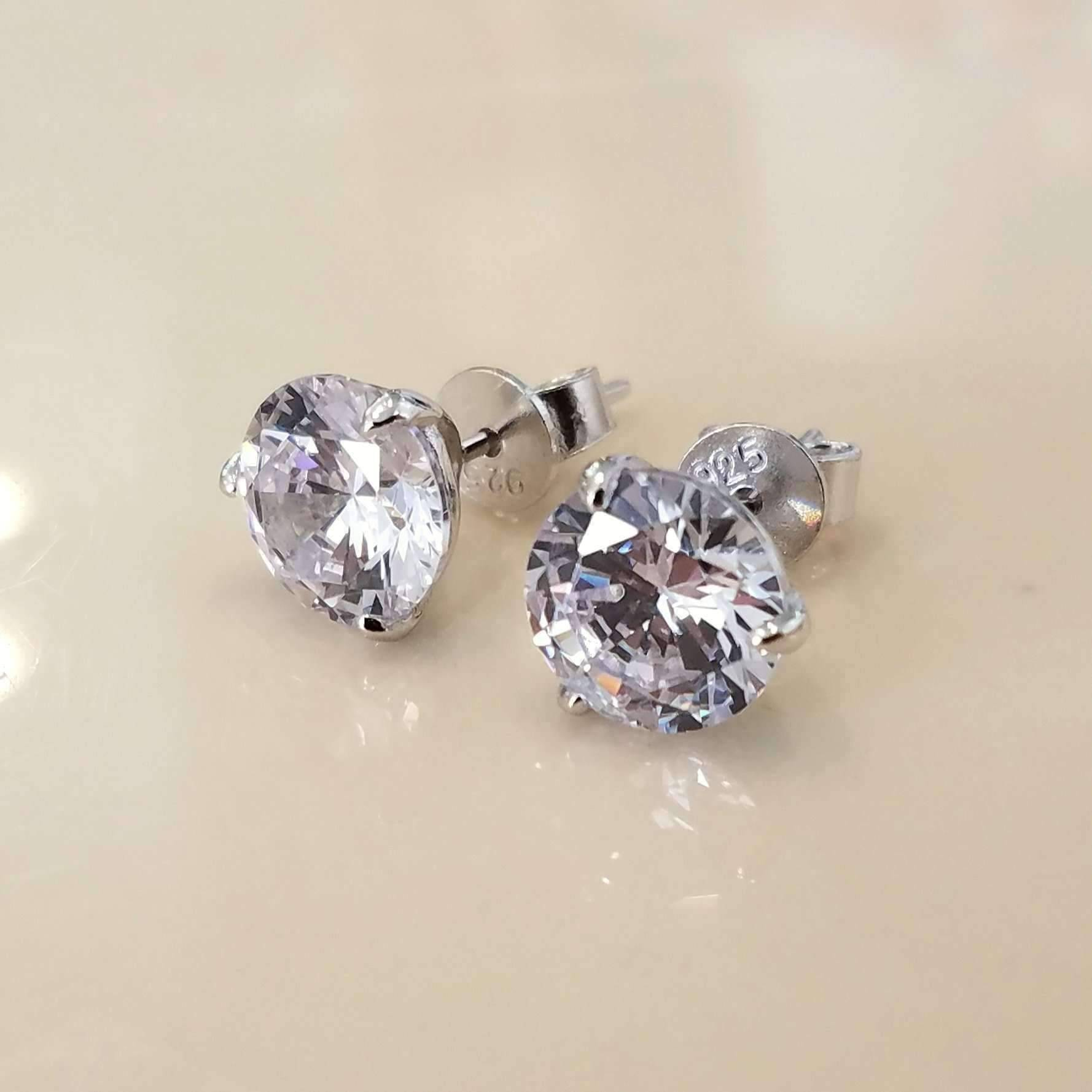 9983c197a ON SALE - Elite Round Three Prong IOBI Simulated Diamond Solitaire Stud  Earrings 2 Carat