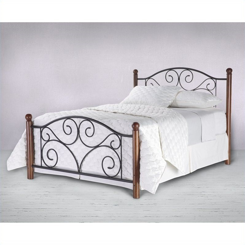 Doral Complete Metal Bed and Steel Support Frame with Decorative Scrollwork and Walnut Colored Wood Finial Posts, Matte Black Finish, Full