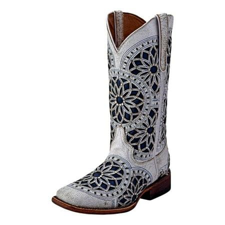 Ferrini Western Boots Womens Mandala Square Toe Cowboy White 84093-19