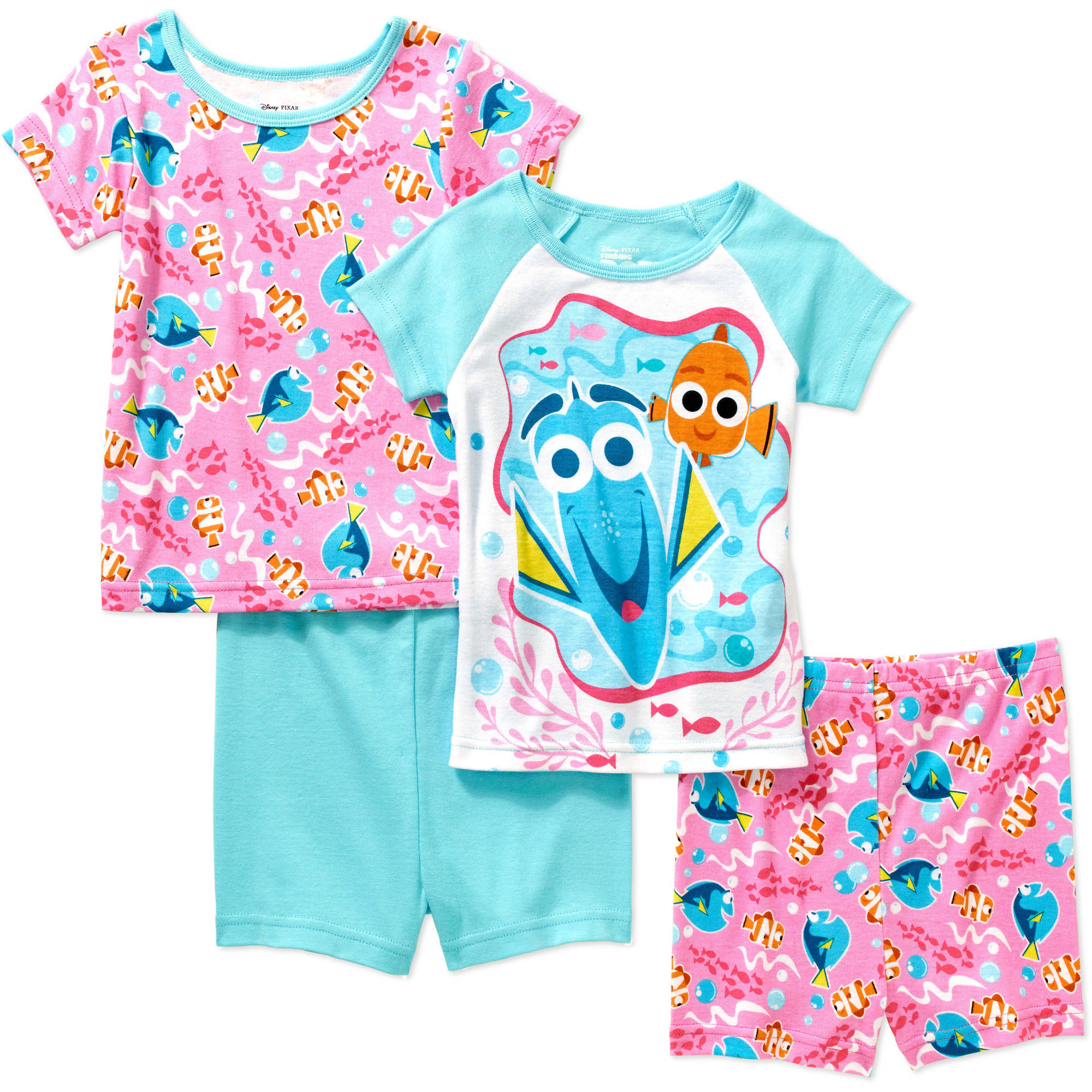 Disney Finding Dory Toddler Girl Cotton Tight Fit Short Sleeve Sleep Set, 4-Pieces