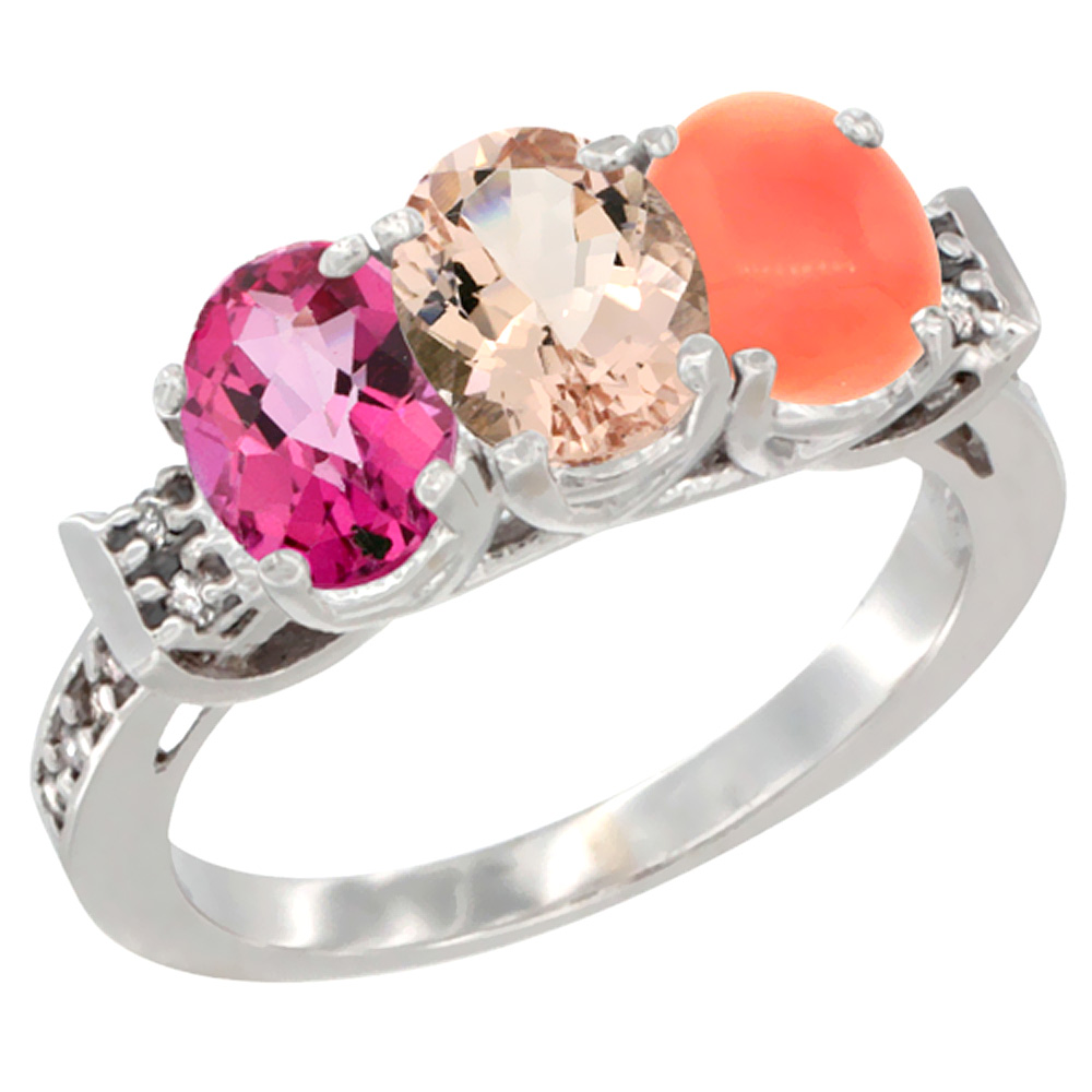14K White Gold Natural Pink Topaz, Morganite & Coral Ring 3-Stone 7x5 mm Oval Diamond Accent, sizes 5 10 by WorldJewels