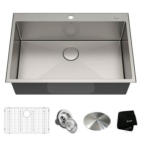 KRAUS Standart PRO™ 33-inch 16 Gauge Drop-In Single Bowl 2-Hole Stainless Steel Kitchen - 16 Gauge Stainless Steel Sinks