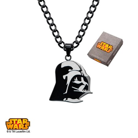 Disney Stainless Steel Etched Darth Vader Pendant, 24 Etched Pendant Necklace