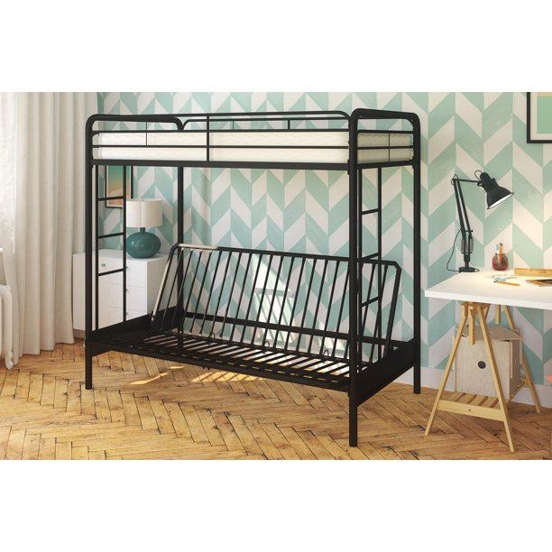 Dhp Twin Over Futon Metal Bunk Bed With Mattress Multiple Colors Walmart Com