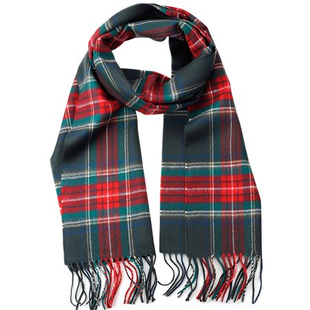 White Flint Grey Apparel - D&Y Unisex Classic Softer Than Cashmere Plaid Fringe End Scarf, Gray