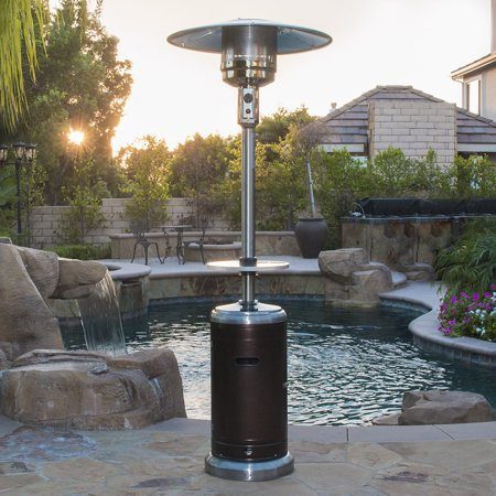 Image of Belleze 48,000BTU Patio Heater with Adjustable Table, 2-Tone Bronze/Stainless Steel