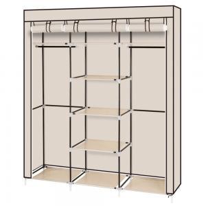 "69/"" Portable Clothes Closet Non-Woven Fabric Wardrobe Dual Rod Storage Organizer"