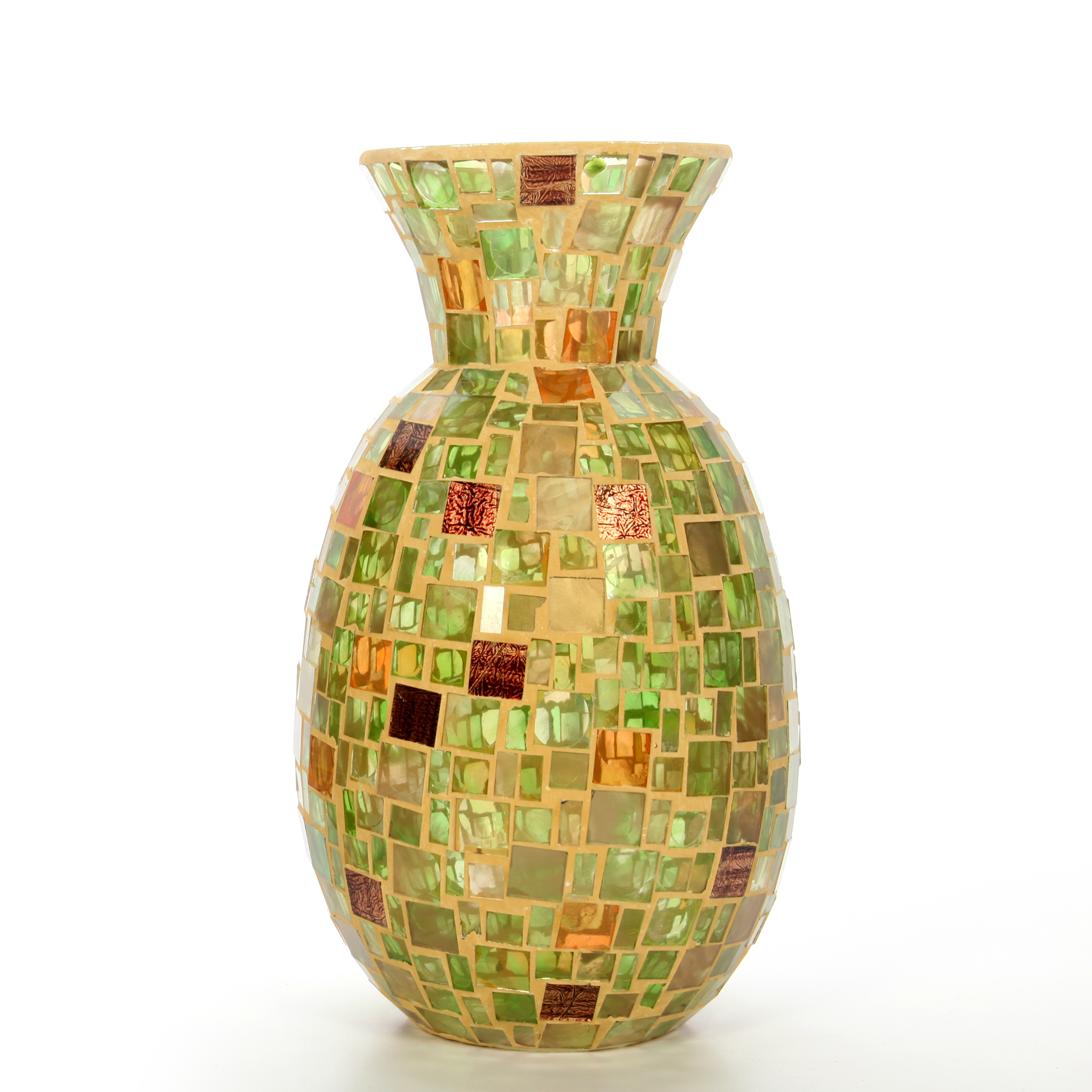 Elegant Expressions Mosaic Glass Vase, Green and Amber