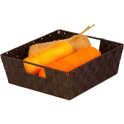 Honey-Can-Do Woven Tray with Handles, Espresso Black