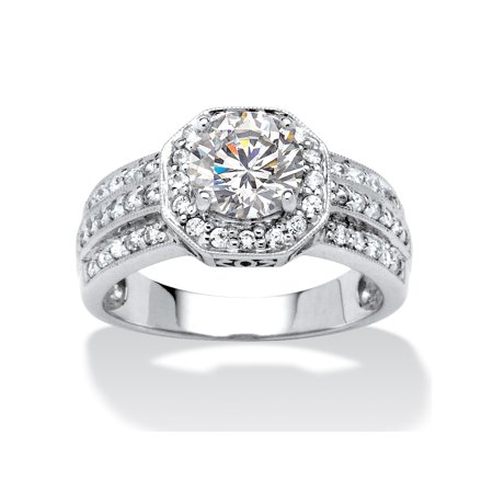 2.26 TCW Round Cubic Zirconia Octagon Engagement Anniversary Ring in 10k White (Octagon Gemstone Engagement Ring)