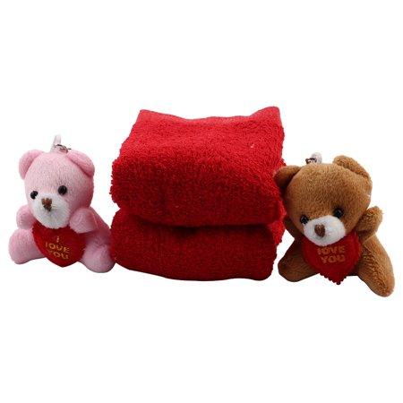 Wedding Microfiber Cupcake Shaped Toy Bear Decor Towel Washrag Facecloth Red