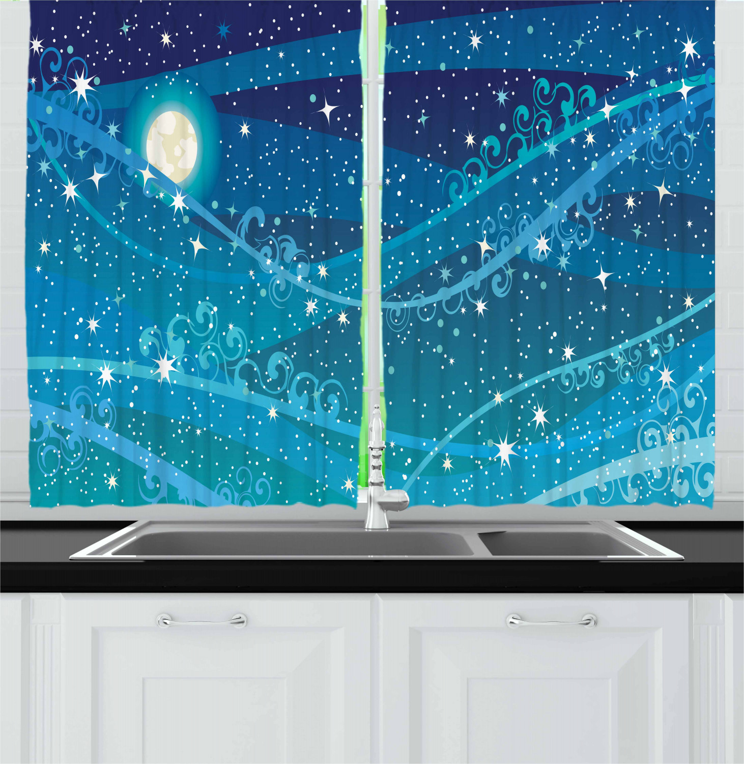 Starry Night Curtains 2 Panels Set Night Sky With Full Moon Astronomy Theme Dots Stripes Swirls Pattern Window Drapes For Living Room Bedroom 55w X 39l Inches Blue Navy Blue White By