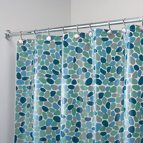 InterDesign EVA Shower Curtain, Blue River Rockz