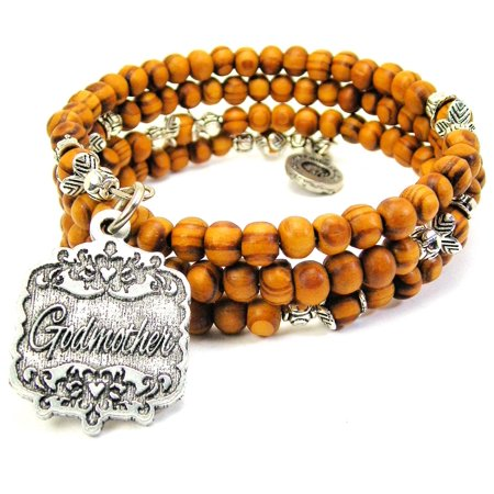 Wood Wrap Bracelet - Chubby Chico Charms Godmother Victorian Scroll Wood Wrap Bracelet