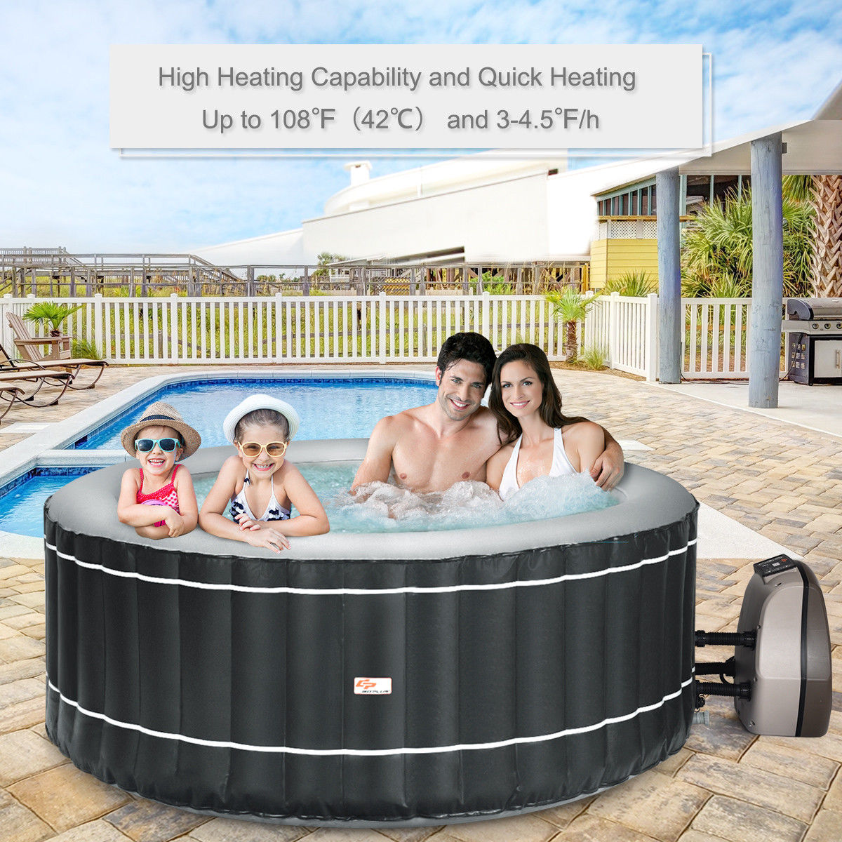 4-Person Inflatable Hot Tub Portable Outdoor Bubble Jet Leisure Massage Spa Gray - image 8 of 8