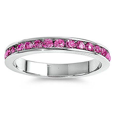 - Lex & Lu 3mm Sterling Silver Rose Pink CZ Eternity Comfort Band Ring Size 5-9