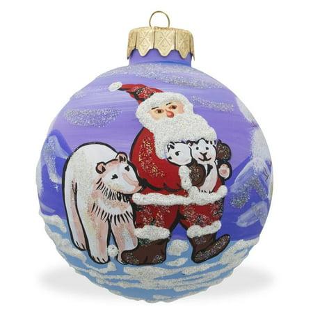 Santa and Polar Bear Glass Ball Christmas Ornament 3.25 Inches](Santa Bears)