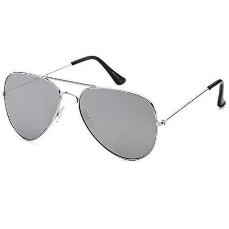 Pilot Fashion Aviator Sunglasses Silver Frame with Mirror Lenses for Men and (Pilots Sunglasses)