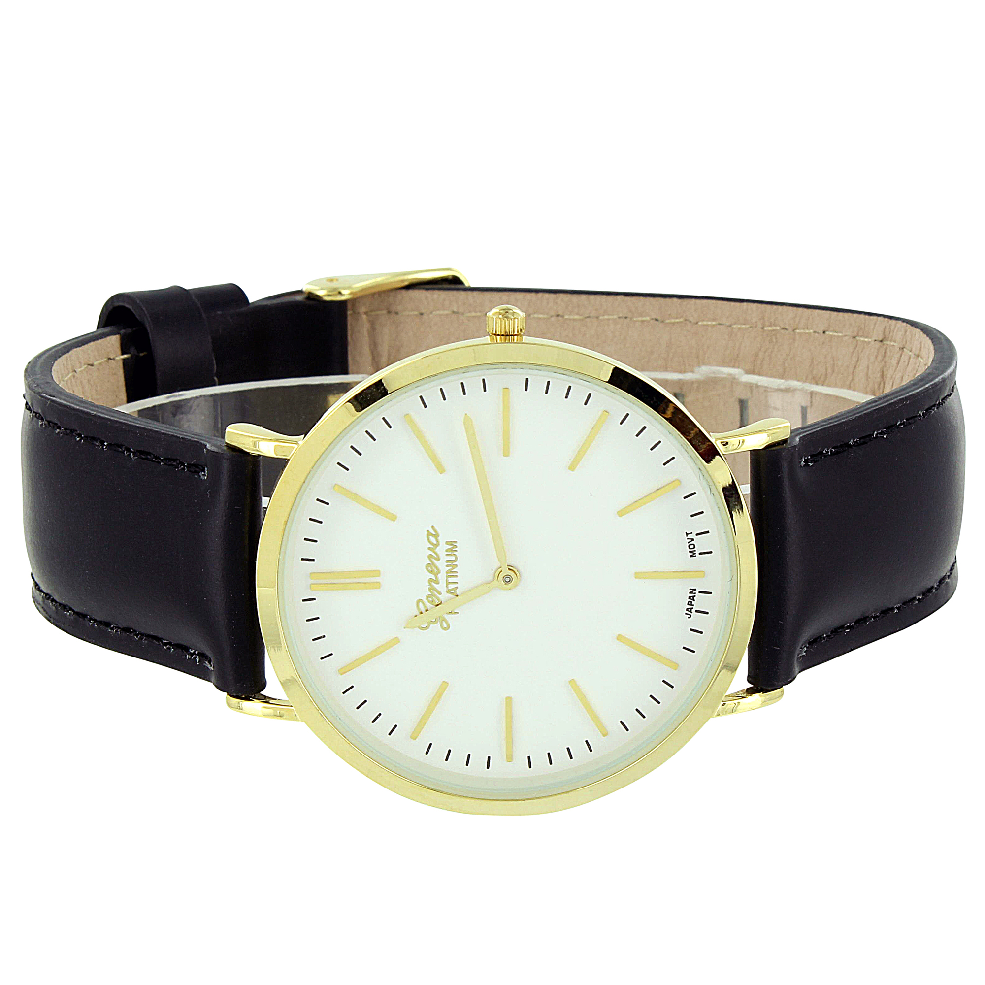 Black & Gold Watch Geneva Mens Stylish New Stainless Steel Back Leather Band Analog Display