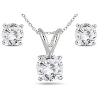 14k White Gold 1 Carat Tw Diamond Pendant and Earring Matching Set