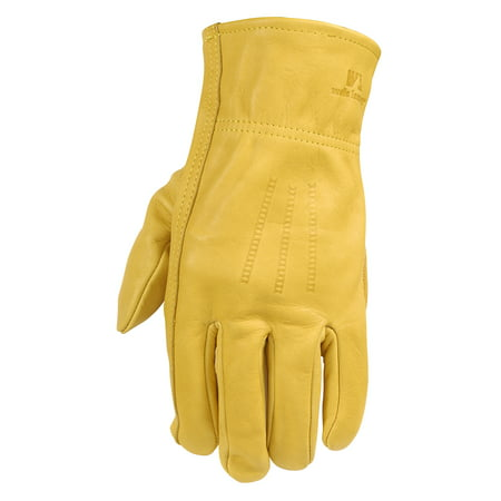 Heavy Duty Grain Cowhide Extra Wear Palm Leather Work Gloves, -