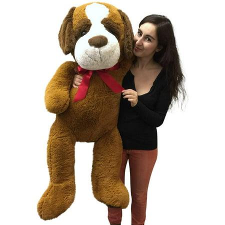 giant stuffed saint bernard 50 inch soft big plush dog jumbo stuffed animal. Black Bedroom Furniture Sets. Home Design Ideas