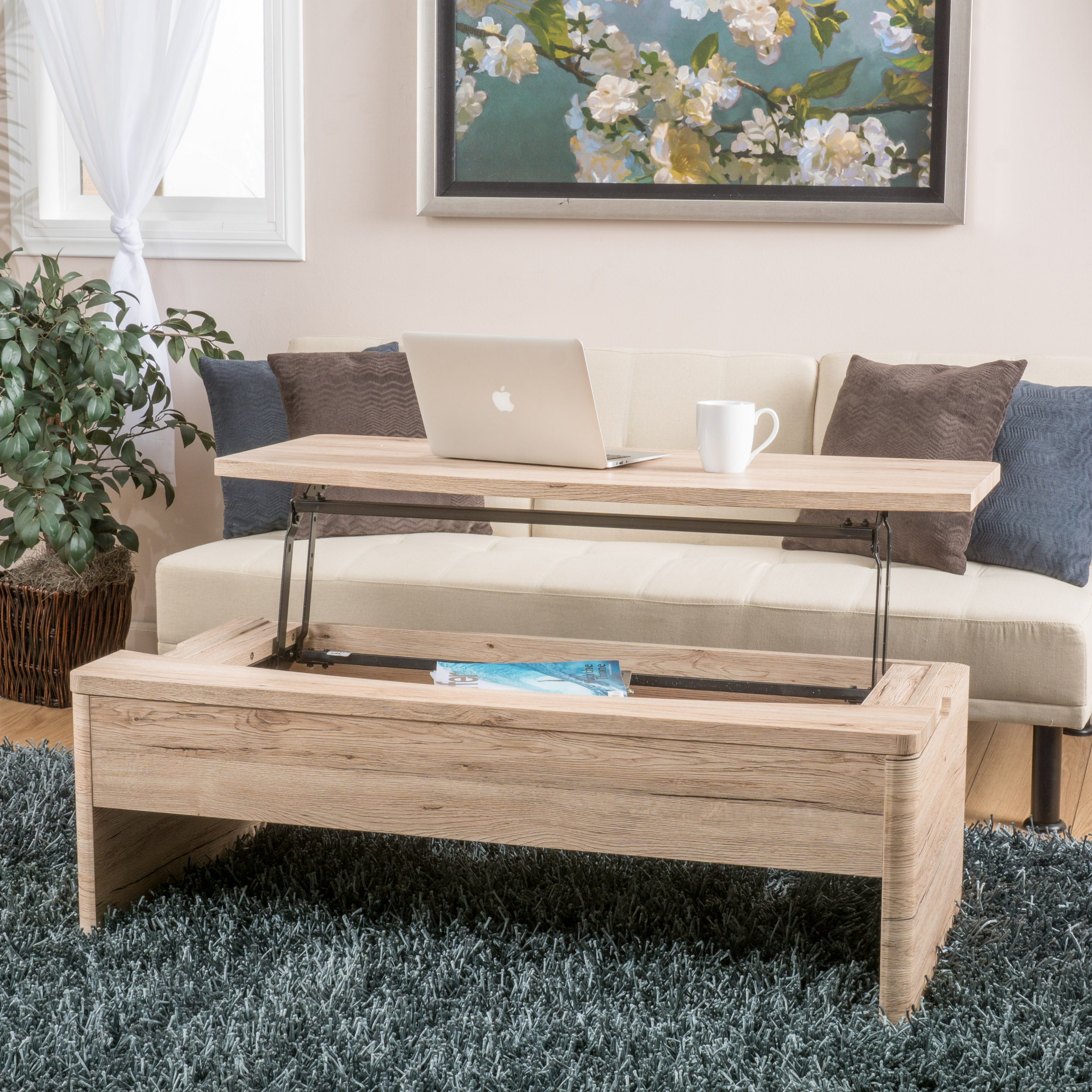 Captivating Noble House Modern Contemporary Lift Top Coffee Table, San Remo