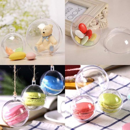 20Pcs Clear Plastic Balls Christmas Decoration Baubles Sphere Fillable Xmas Tree Ornament Transparent Ball Home Decor ()