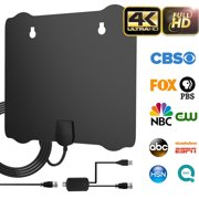2019 Upgraded Indoor HDTV Antenna, 80-100 Miles Long Range Amplified Digital TV Antenna , 4K UHF VHF 1080p Free Channels & All TV's High Reception w/ Detachable Amplifier Signal Booster and 18FT Cable