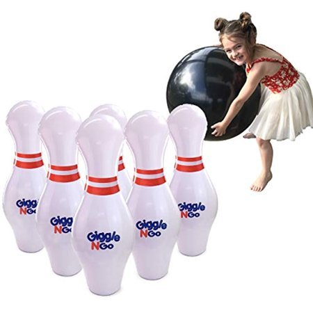 GIGGLE N GO Inflatable Bowling Set for Kids - Giant Bowling Games for Adult and Family Fun. Great for Indoor or Outdoor Games. Our Kids Bowling Set Inc 6, 27in Bowling Pins, 1, 24In Ball and 1 Pump - Giant Bowling