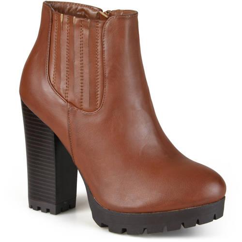 Brinley Co. Women's Lug Sole Stacked Heel Bootie