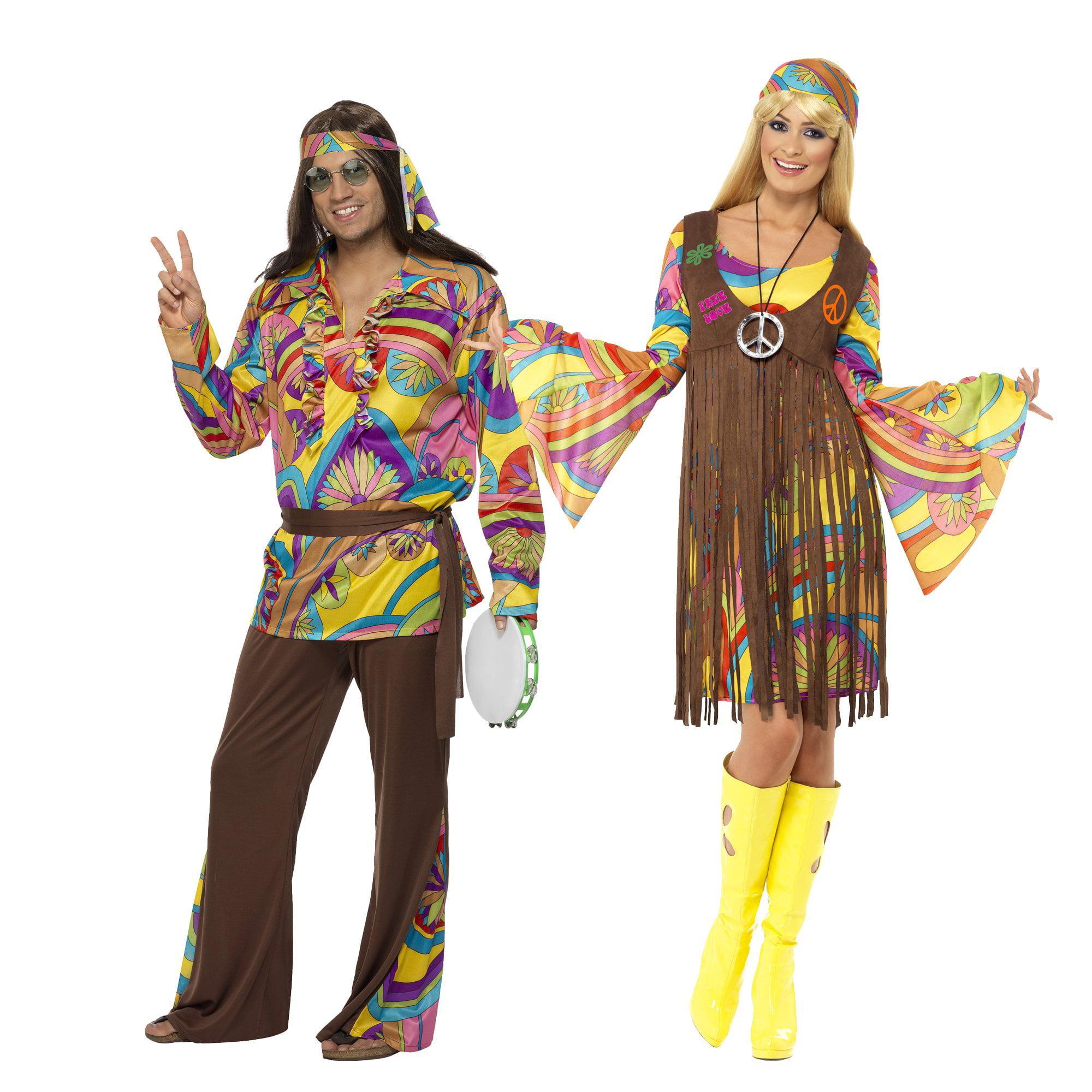 Smiffy/'s Men/'s Psychedelic Hippie Man Costume pants Shirt Headband and Belt 60