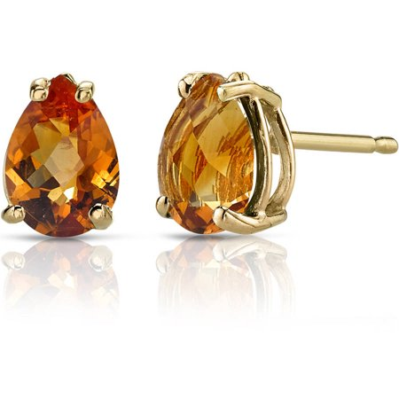 Pear Shape Citrine Earrings (1.25 Carat T.G.W. Pear-Shape Citrine 14kt Yellow Gold Stud)