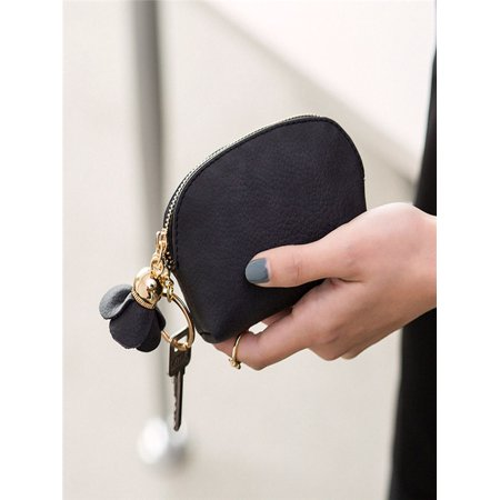 Women Leather Small Mini Wallet Holder Zip Coin Purse Clutch Handbag BK ()