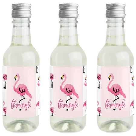 Pink Flamingo - Mini Wine and Champagne Bottle Label Stickers - Tropical Summer Party Favor Gift for Women and Men - - Wine Party Favors