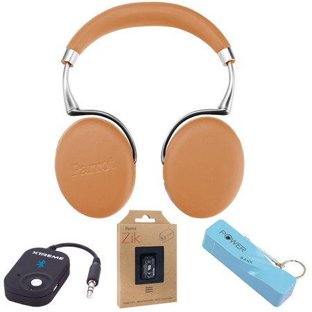 bccd3f9ea8d Parrot Zik 3 Wireless Noise Cancelling Bluetooth Headphones (Camel Leather- Grain) w/Headphone Bundle - Walmart.com