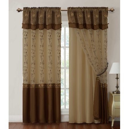 One 1 Panel Window Curtain Drapery Sheer Panel Attached