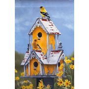 "House Hunting Spring House Flag Decorative Birdhouse by Evergreen  29"" x 43"""